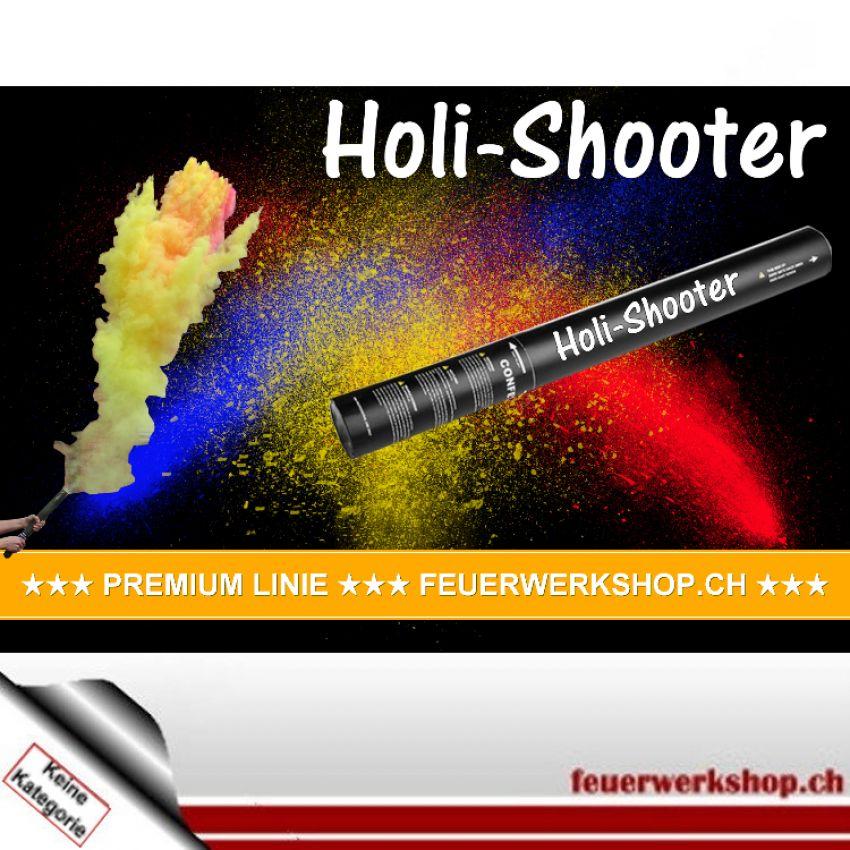 Holi-Shooter mit Pulver aus 100% Gulal