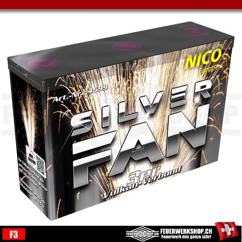 Silver Fan 3er-Vulkan-Verbund von Nico Feuerwerk, Silberfaecher