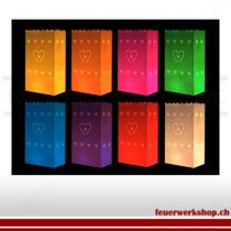 Lichttüten verschiedene Farben(mit Herzen) 10Stück