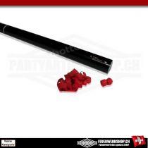 Luftschlangen Party Kanone mit roten Papierstreamern - 80cm