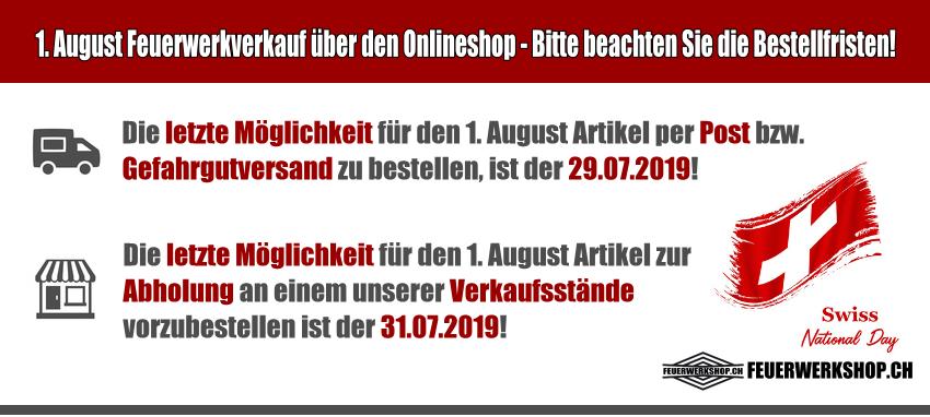 Beachten Sie bitte die Bestellfristen für den 1. August!